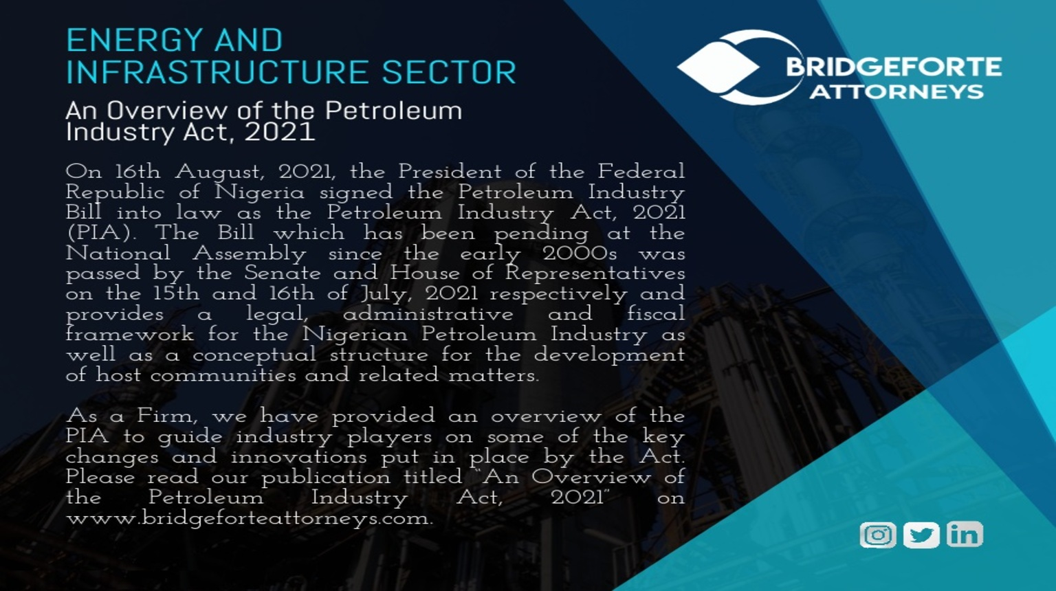 AN OVERVIEW OF THE PETROLEUM INDUSTRY ACT, 2021